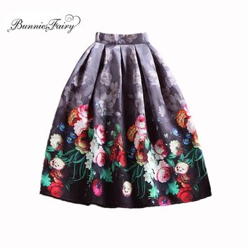 BunniesFairy Spring Autumn 50s Vintage Skirts Hepburn Style Retro Rose Floral Print High Waist A-Line Pleated Midi Skirt Tutu
