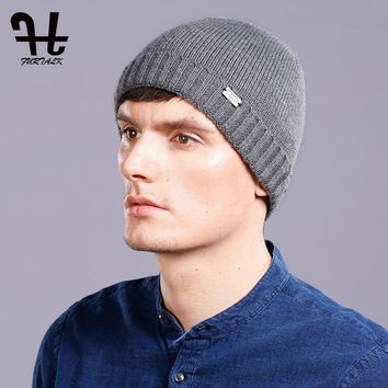 FURTALK 100% Wool Knitted Cashmere Men Winter Hat Knit Skullies Beanies Hats Male HTWL093