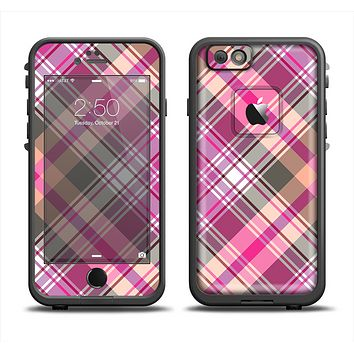 The Gray & Bright Pink Plaid Layered Pattern V5 Apple iPhone 6 LifeProof Fre Case Skin Set