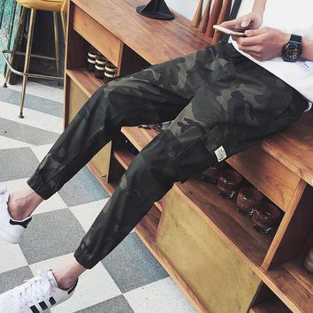 SeaSunLand 2017 Fashion Mens Camo Pants Hip Hop Harem Pencil Pants Casual Joggers Military Camouflage Cargo Trousers Sweatpants