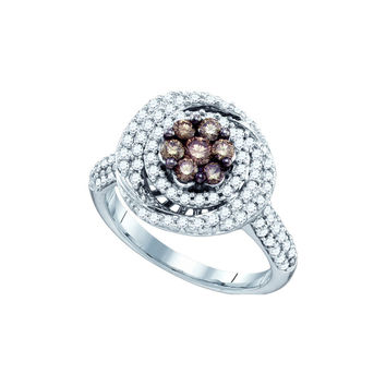 10k White Gold Cognac-brown Colored Round Diamond Flower Cluster Womens Cocktail Ring .99 Cttw 71573