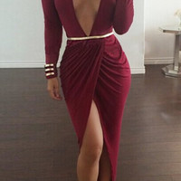 Plunging Neck Long Sleeve High-Furcal With Belt Dress