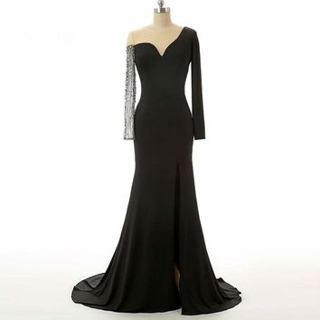 Black Beaded Chiffon Long sleeve Elegant Evening Dresses
