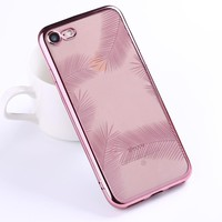 Sexy Luxury Rose Gold Clear Plating Soft Phone Case Coque Fundas For iPhone 7 7Plus 6 6S 6Plus 5 5S SE