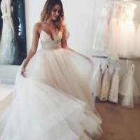 Empire Waist Ivory Wedding Dress with Tiered Skirt Custom Size 2 4 6 8 10 12 14