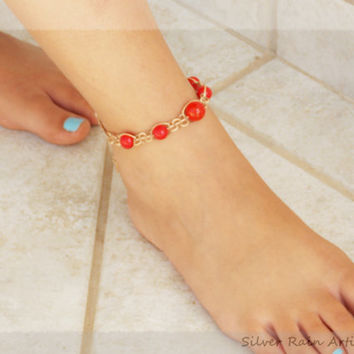 Red and light brown anklet - anklet - macrame anklet - anklet bracelet - boho anklet - friendship anklet - summer anklet - beach jewelry