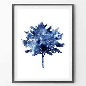 Tree Watercolor Print, Fine Art Poster, Wall Art Home Decor, Wall Hanging Wedding Gift, Giclee Illustration Watercolor Poster of a Blue Tree
