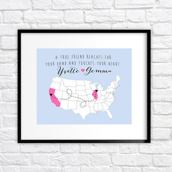 Best Friends Map, Hometowns, Long Distance - 8x10 Personalized Map Art Print, Two Hearts - Birthday Gift for Best Friend, Sisters, Cousins