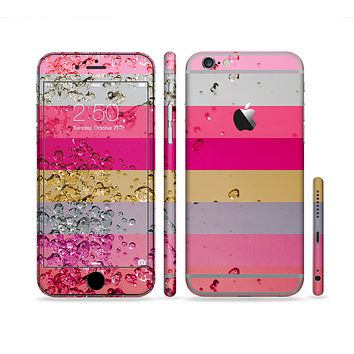 The Pink Water Stripes Sectioned Skin Series for the Apple iPhone 6