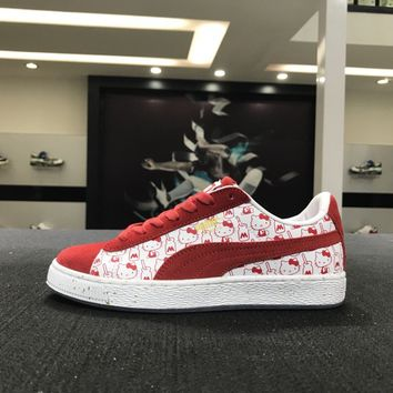 Puma X Hello Kitty Suede 366306-01 Women Red Causel Skateboarding Shoes Sneaker
