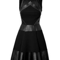 David Koma - Leather/Haircalf Strapless Dress