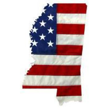 State of Mississippi Realistic American Flag Window Decal - Various Sizes