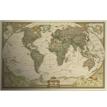 Vintage World Map Wall Stickers Home Decor Art  Wallpaper decoration Retro Paper Matte Kraft Paper Map Of World