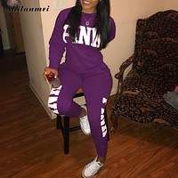 Pink Letter Print 2 Piece Set Women 2018 Long Sleeve Top And Pants Autumn Casual Tracksuit Sweat Suits 2 Piece Sweatshirt Outfit