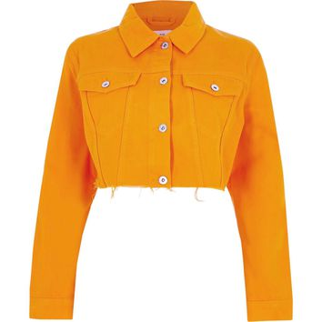 Orange raw hem cropped denim jacket - Jackets - Coats & Jackets - women