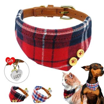 Plaid Dog Bandana Personalized Puppy Dog Cat ID Tag Collar Pet Bandana Collars For Small Dogs Cats With Free Engraved Heart Tag