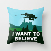 I WANT TO BELIEVE - Harry Potter Throw Pillow by John Medbury (LAZY J Studios)