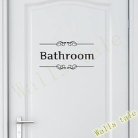 Vintage Wall Sticker Bathroom Decor Toilet Door Vinyl Decal Transfer Vintage Decoration Quote Wall Art Bathroom black