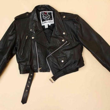 80s 90s Vtg CONTEMPO CASUALS Black Genuine Leather Motorcycle Biker Crop Jacket / Zipper PUNK Glam Rock N Roll Grunge / Large