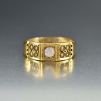 English Opal and Pearl Gold Antique Wedding Band