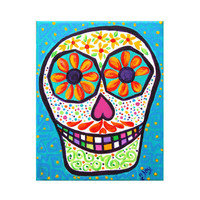 Original Acrylic Painting, SUGAR SKULL No.2, 8x10 Home Decor Wall Art