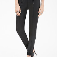 Zippered Faux Leather Joggers