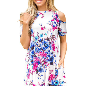 Ruffled Cold Shoulder White Floral Dress LAVELIQ
