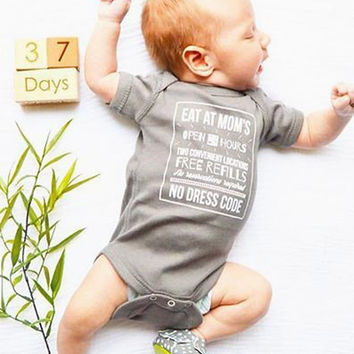 Eat At Mom's Baby Onesuit {Shark Gray}
