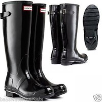 HUNTER ORIGINAL TALL GLOSS BACK BLACK ADJUSTABLE WELLINGTON BOOTS WIDE Welly
