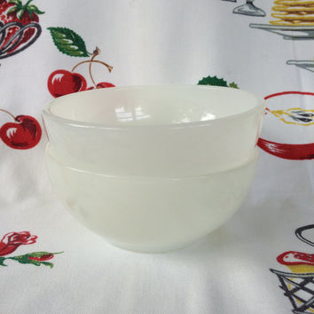 Mid Century Fire-King White Milk Glass Cereal Bowls Vintage Kitchen Anchor Hocking Set of 2