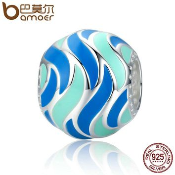Authentic 100% 925 Sterling Silver Tropical Fish Pattern Enamel Charm Beads fit Bracelets Bangles DIY Jewelry SCC293