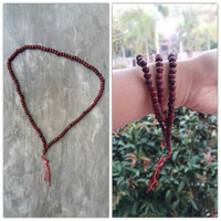Hand Made Red Wood Thai Wooden Mala Bead Necklace Bracelet