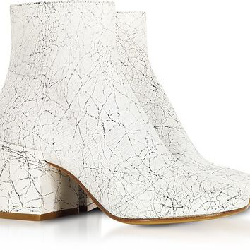 MM6 Maison Martin Margiela White Crackled Leather Boots
