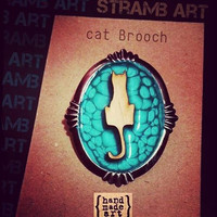 Wooden cat brooch and enamels//The last one!!