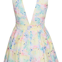 ROMWE Colorful Floral Print Sleeveless Dress
