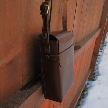 vintage brown leather camera case. genuine top grain leather. made in the USA. crossbody strap