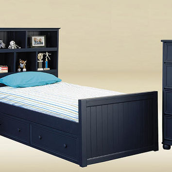 Annapolis Blue Twin Size Bookcase Bed
