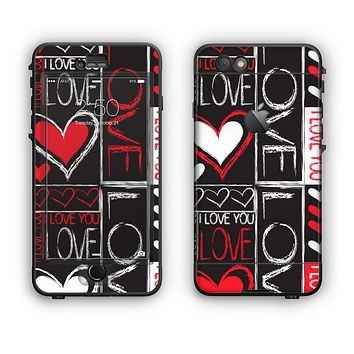 The Sketch Love Heart Collage Apple iPhone 6 LifeProof Nuud Case Skin Set