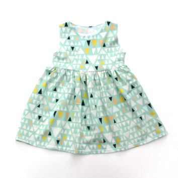 Mint Dress, Mint Triangle Dress, Baby Dress, Child Dress, Toddler Dress, Kid Dress, Sizes Infant to Size 7