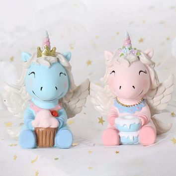 Cute Baby Gifts Creative Home Unicorn Resin Ornaments Bedroom Living Room Desktop Home Decorations