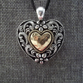 Black, Silver, and Gold Metal Heart Shaped Pendant on Adjustable Black Suede Cord