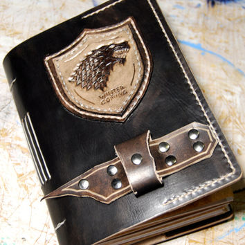 Stark Journal, Game of Thrones Leather Journal, Personalized Journal, A6 Journal, Handmade Journal, Gift for Him, Gift for Her, Notebook