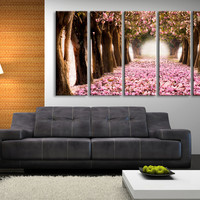 Large Wall Art Pink Flowers on Ground and Trees - Cherry Blossom and Almond Tree  Canvas Print Art,Home Decor, Large Wall Art