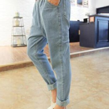 New arrival fashion boyfriend jeans for women casual elastic waist white retro washing jeans denim harem pants plus size
