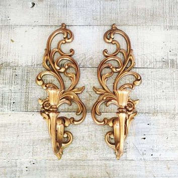 Wall Sconces Pair of Hollywood Regency Gold Candle Sconces Ornate Gold Candle Holder Vintage Syroco Plastic Wall Mount Sconces Vintage Glam