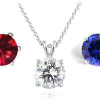 Interchangeable Crystal Necklace Set / Red, White