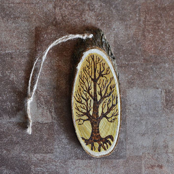 Rustic Eco Home Decor  - Tree of Life Wall Hanging - OOAK Pyrography Hostess Gift - Hand burned Pyrography Decor - Woodburning Art