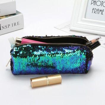 1pcs DIY Reversible Double Color Sequins Glitter Handbag Pencil Case Cosmetic Bag Makeup Pouch
