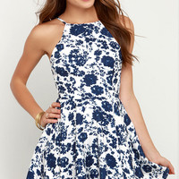 In Living Splendor Ivory and Navy Blue Floral Print Dress