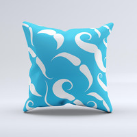 White Mustaches with blue background ink-Fuzed Decorative Throw Pillow